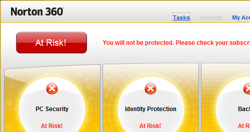 Screenshot of Norton 360 saying YOU ARE AT RISK!