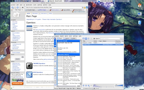 Openbox running in KDE (with Amarok listening to Whole Wheat Radio!)