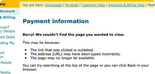 Optus telling me their Payments link redirects to a page that doesn't exist
