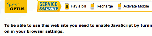 Optus website telling me I need JavaScript to view their site