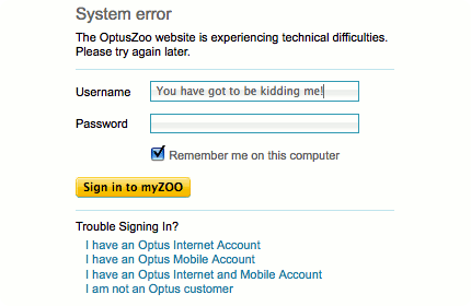 The OptusZoo service is experiencing technical difficulties…