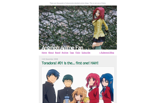 Screenshot of my original anime blog