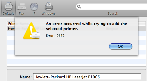 Error HP LaserJet Error -9672 on Snow Leopard