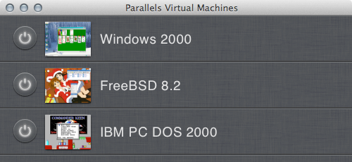 Screnshot showing Parallels 7's list of VMs