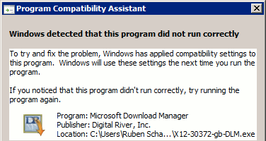 Program Compatibility Assistant error