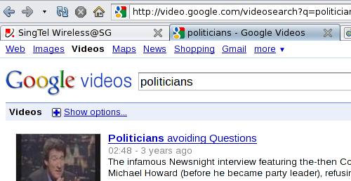 Google Video Search for politicians