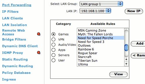 Router configuration screenshot