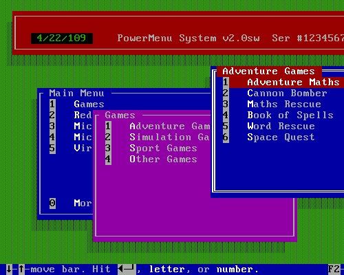 PowerMenu for DOS
