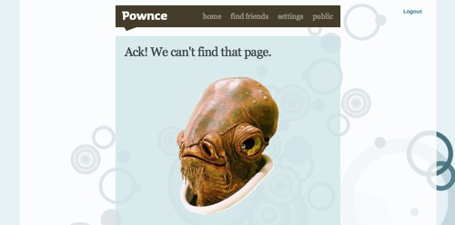 The Pownce 404 notice screen thingy