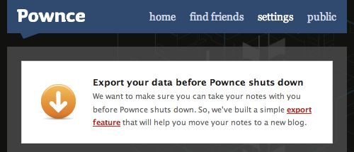 The Pownce export notice on the Settings page