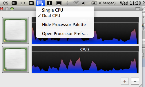 The Processor preference pane menu and Processor Palette on Mac OS X Leopard