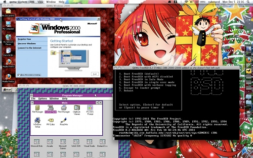 Screenshot showing Windows 2000, Windows 3.11 and FreeBSD 8.2 running in QEMU 1.0!