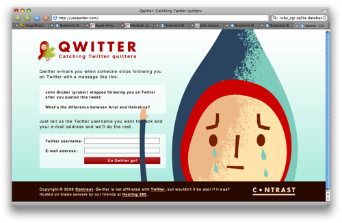 Screenshot of the Qwitter home page