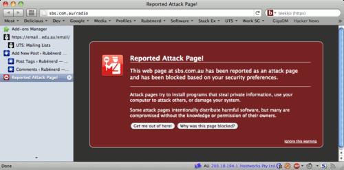 Screenshot of the error on the SBS Radio site.