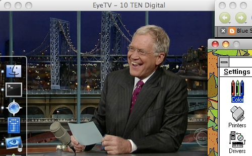Screenshot of the Late Show from my TV tuner running in the background at 1/2 size.