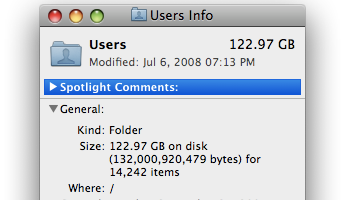 This much taken up, on a 149GiB internal notebook drive. Bummer!