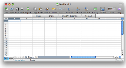 Excel 2008 screenshot