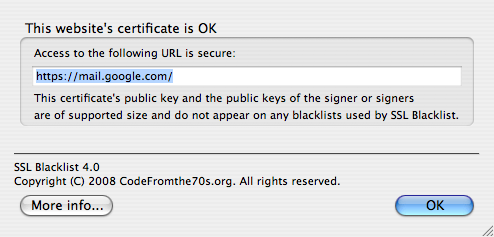 SSL Blacklist showing that Gmail doesn't use the vulnerable MD5 algorithm.