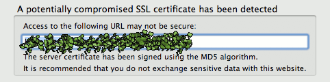 The SSL Blacklist add-on warning screen after loading a page