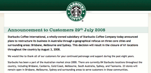 Starbucks Australia website showing closing notice