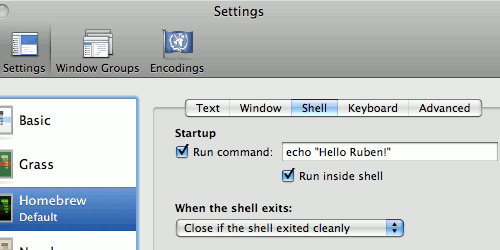 The Leopard Terminal Preferences window