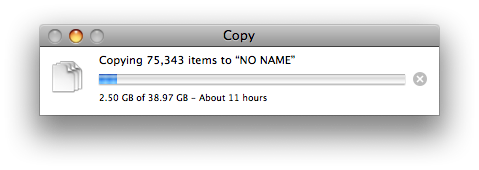 Screenshot of a large amount of files being transferred to an external TrueCrypt volume on Mac OS X