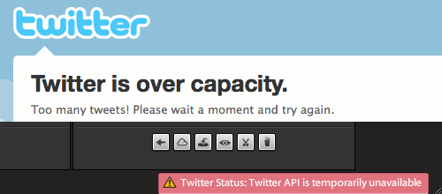 Twitter down error messages