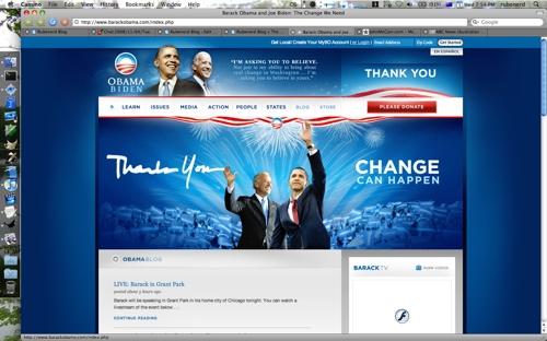 Screenshot of BarackObama.com taken this afternoon