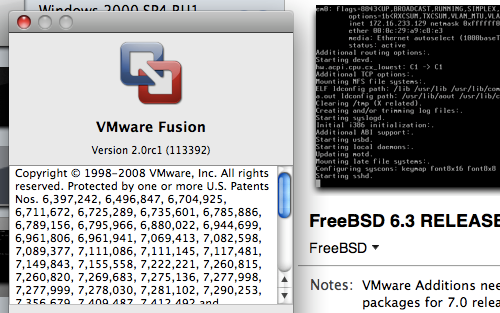 Screenshot of VMware Fusion 2.0 Release Candidate 1