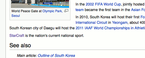 Sports section in the South Korea Wikipedia article