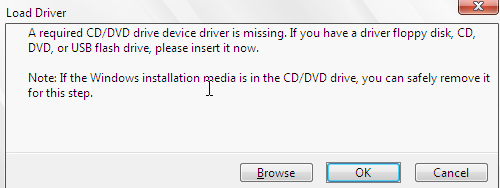 Windows 7 installer asking from drivers