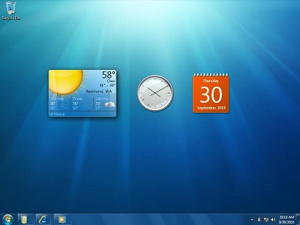 Screenshot of the first preview of Windows 7