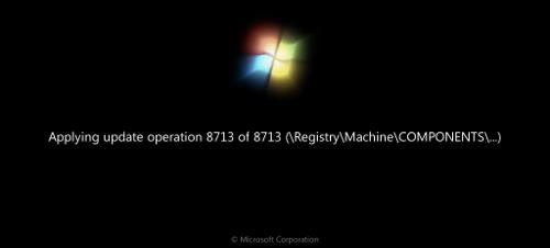 Windows 7's intuitive boot update screen