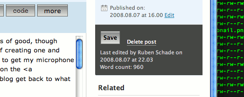Word count feature of WordPress 2.6