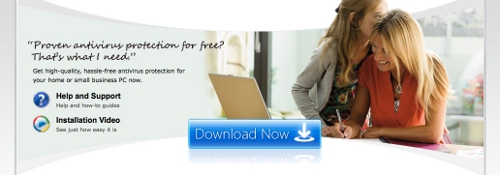 Screenshot with stock photos of random people on the Microsoft site advertising their security software.