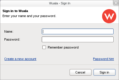 Wuala's first login screen after installing