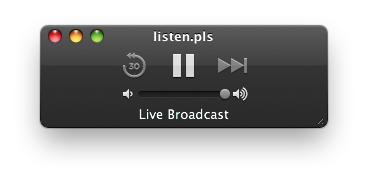 Listening to Whole Wheat Radio on the Med-Fi stream in QuickTime 10