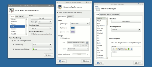 Settings windows in Xfce 4.4.2