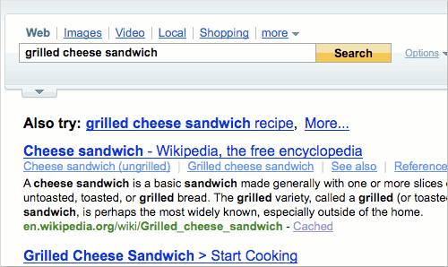 Yahoo search results for Grilled Cheese Sandwich