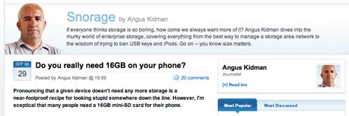 Screenshot of Angus Kidman's ZDnet Australia column earlier today