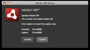 Screenshot of an Adobe Air update.