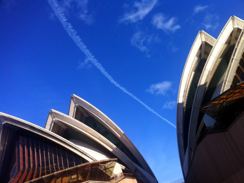 Contrail over the Opera House, Sydney