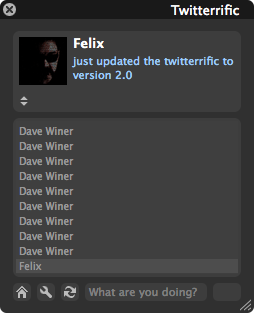 Screenshot of Twitteriffic showing Felix's most recent post about upgrading to Twitterrific 2.0